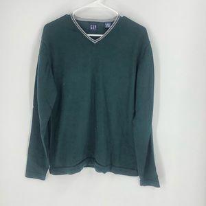Gap Merino Wool Sweater Green V-Neck Wool Sweater